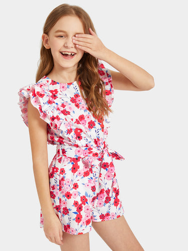 Girls Layered Ruffle Floral Print Belted Romper