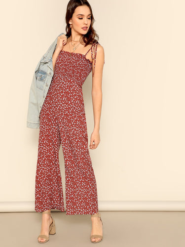 Ditsy Print Knot Strap Ruffle Trim Smocked Jumpsuit