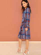 Plaid V-Neck Wrap Front Long Sleeve Dress