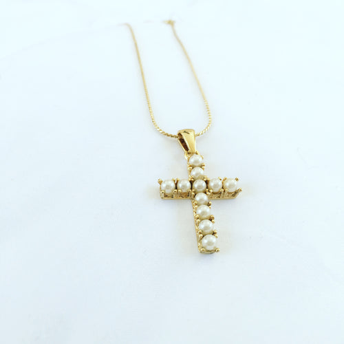 Gratitude Pearl Cross Pendant and Necklace