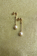 Long Post Solitaire White Pearl Drop Earring