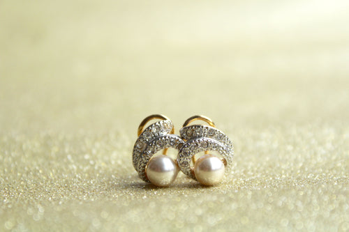 Pearl and Cubic Zirconia Swirl Detail Earring