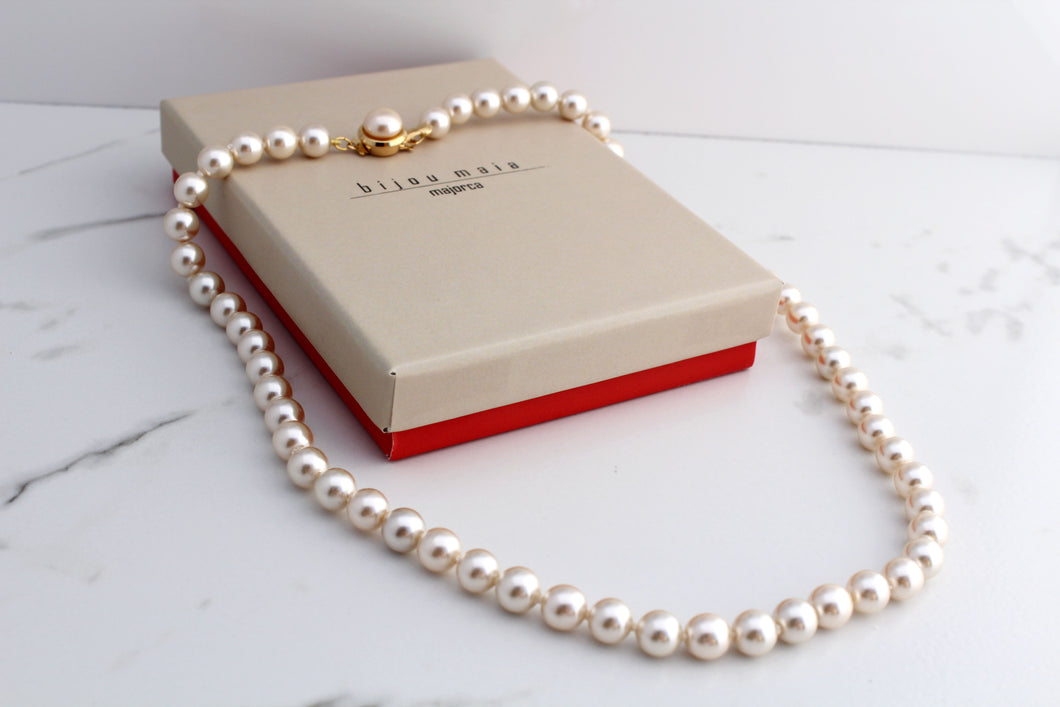 Pearl Strand Necklace - Gold Plated Mabe Pearl Closing
