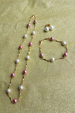 Pink and White Pearl Gold Plated Set