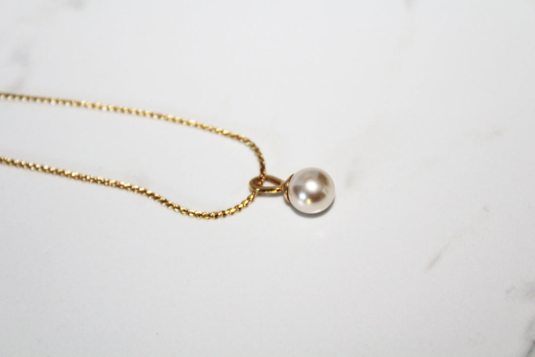 14K Gold Plated Pearl Solitaire Necklace, handmade in Spain, stylish for any lifestyle.