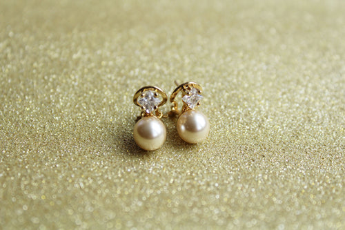 Solitaire Pearl and Cubic Zirconia Earrings