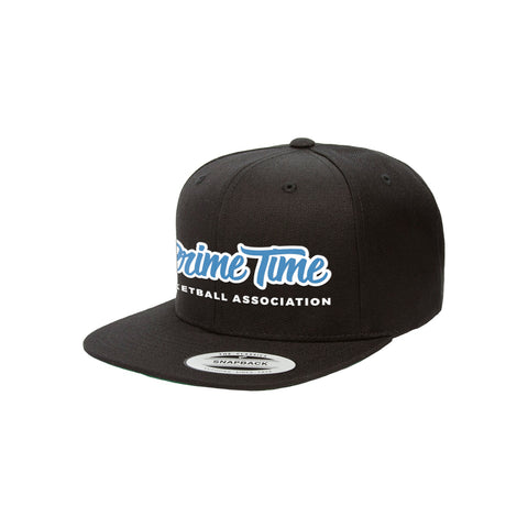 Prime Time Rackers Club Basketball Cap in Classic Black with the PTBA logo in sapphire.
