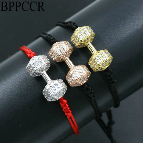 Trendy Dumbbells Fitness Chakra Bracelet Lucky Red Rope String Barbell Bracelets For Lovers Men Women Lovers Jewelry Gift - fit for life 24/7 bracelet Fit for life 24/7 Fit for life nutrition