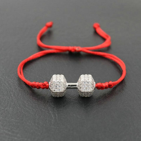 Trendy Dumbbells Fitness Chakra Bracelet Lucky Red Rope String Barbell Bracelets For Lovers Men Women Lovers Jewelry Gift - fit for life 24/7 red silver bracelet Fit for life 24/7 Fit for life nutrition