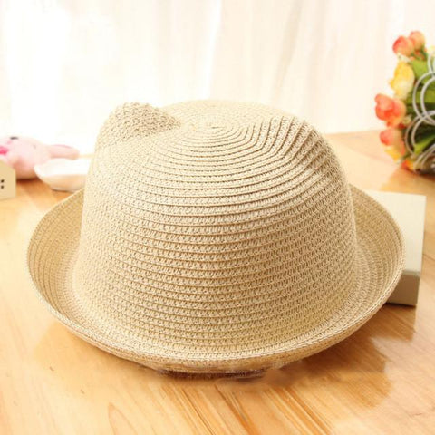 Cat Ears Straw Hat - For Babies & Young Children