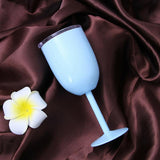 Metal Wine Goblet with Lid Tumbler