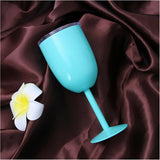 Insulated Metal Wine Goblet with Lid Tumbler