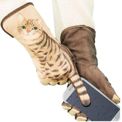 3D Cat Touch Screen Suede Gloves