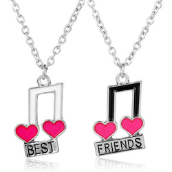 BFF Heart Musical Notes Twin Necklace