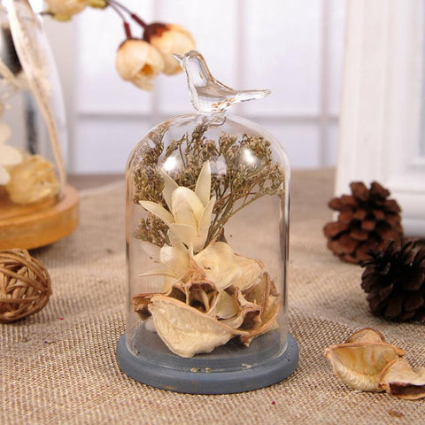 Love Birds Flower Glass Terrarium