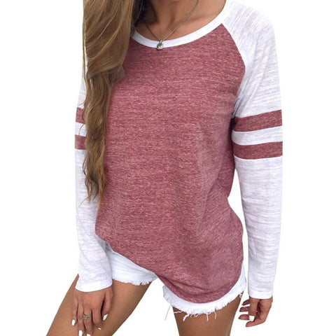 Color Block Long Sleeves Baseball Top