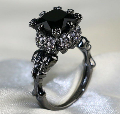 Black Zircon Crystal Skull Ring