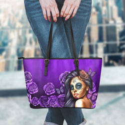 Calavera Skull Girl Leather Tote Bag