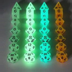Glow in Dark Effect d4 d6 d8 d10 d% d12 d20 Polyhedral Dice (7 pcs) Set
