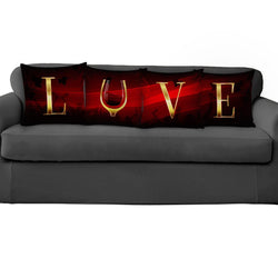 Romantic Red LOVE Wine Pillow Covers