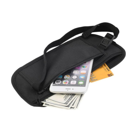 Slim Travel Belt Bag Black