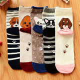 Puppy Paw Print Peek-a-Boo Cotton Socks