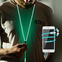Glowing Zipper Earphones with Mic