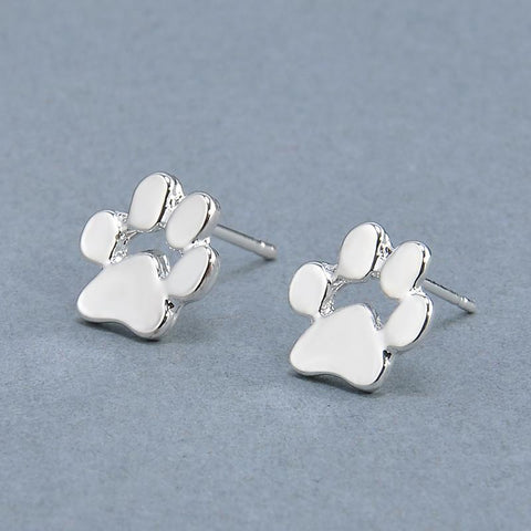 Doggy Paw Print Stud Earrings