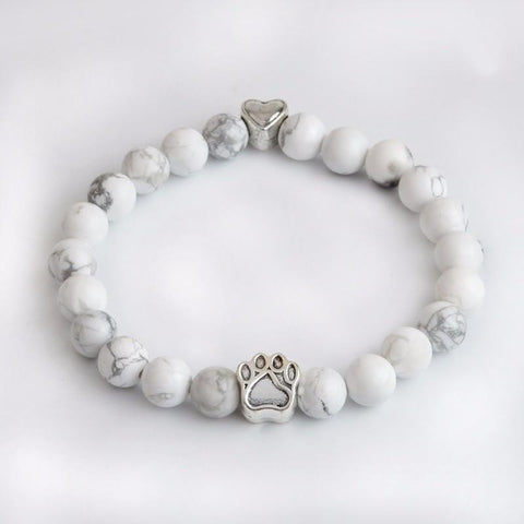 Heart & Paw Natural Stone Bracelet