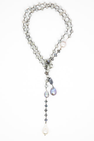 Grey Moonstone Lariat