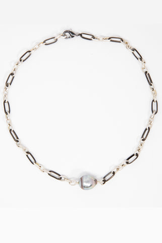 Mixed Metal Choker with Tahitian Pearls