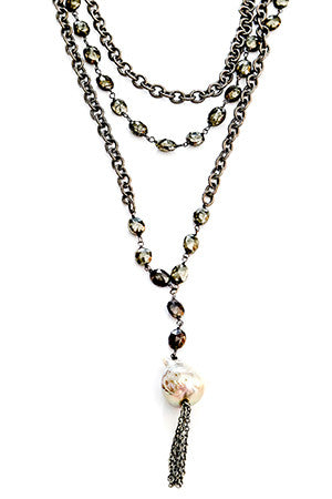 Double Chain with Pyrite, Baroque Pearl Closed Necklace