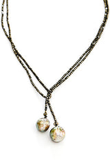 "60"" Tiny Pyrite Lariat with Pearl"
