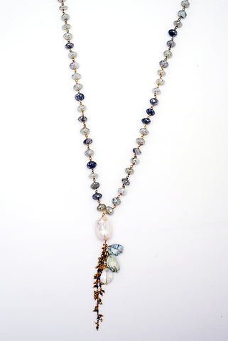 Fresh Water Pearl & Aquamarine Necklace with Tassel