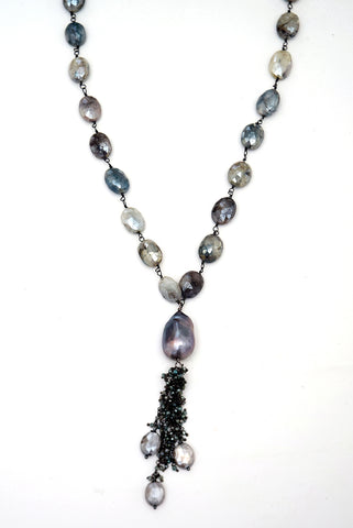 Labradorite & Baroque Pearl Necklace