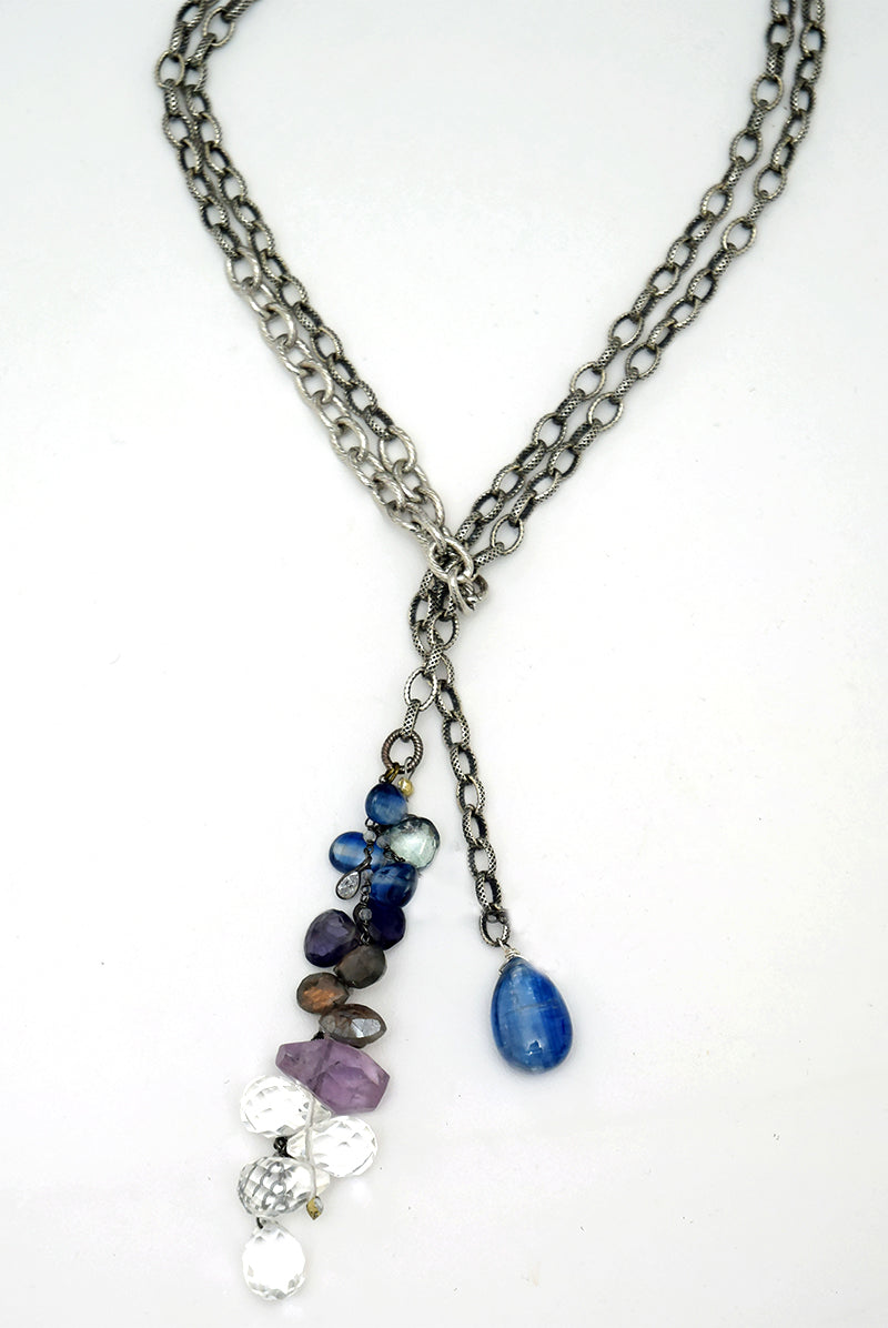 Blue Kyanite & Gemstone Lariat