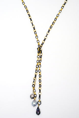 Mixed Metal Lariat with Tahitian Pearls