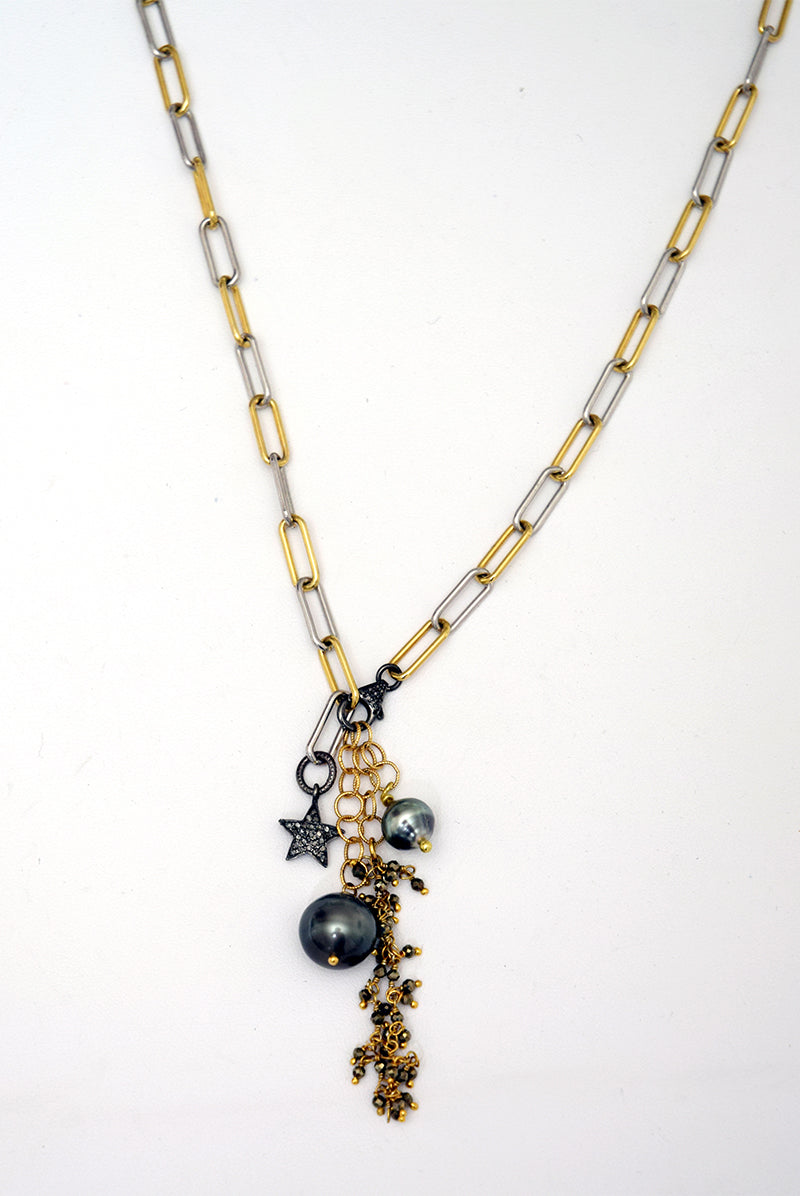 Tahitian Pearl, Diamond & Pyrite Necklace