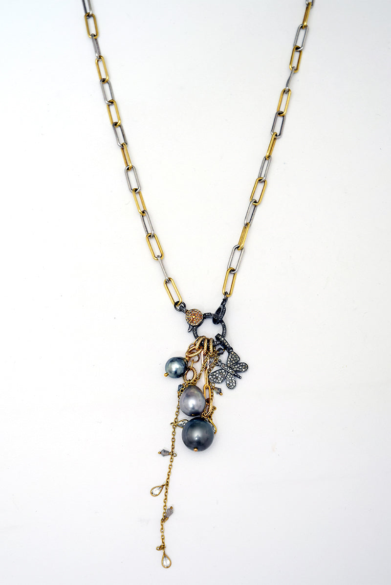 Mixed Metal Necklace with Tahitian Pearls & Butterfly Charm
