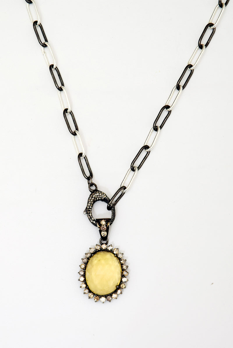 Mixed Metal Choker with Lemon Quartz & Diamond Charm