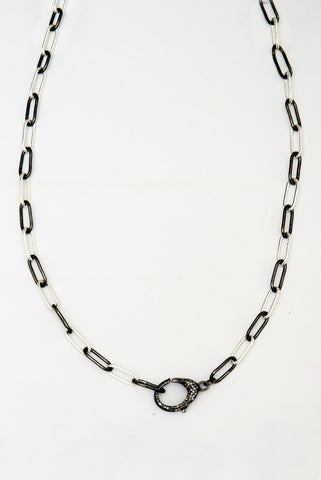 Paper Clip Chain Choker with Diamond Clasp
