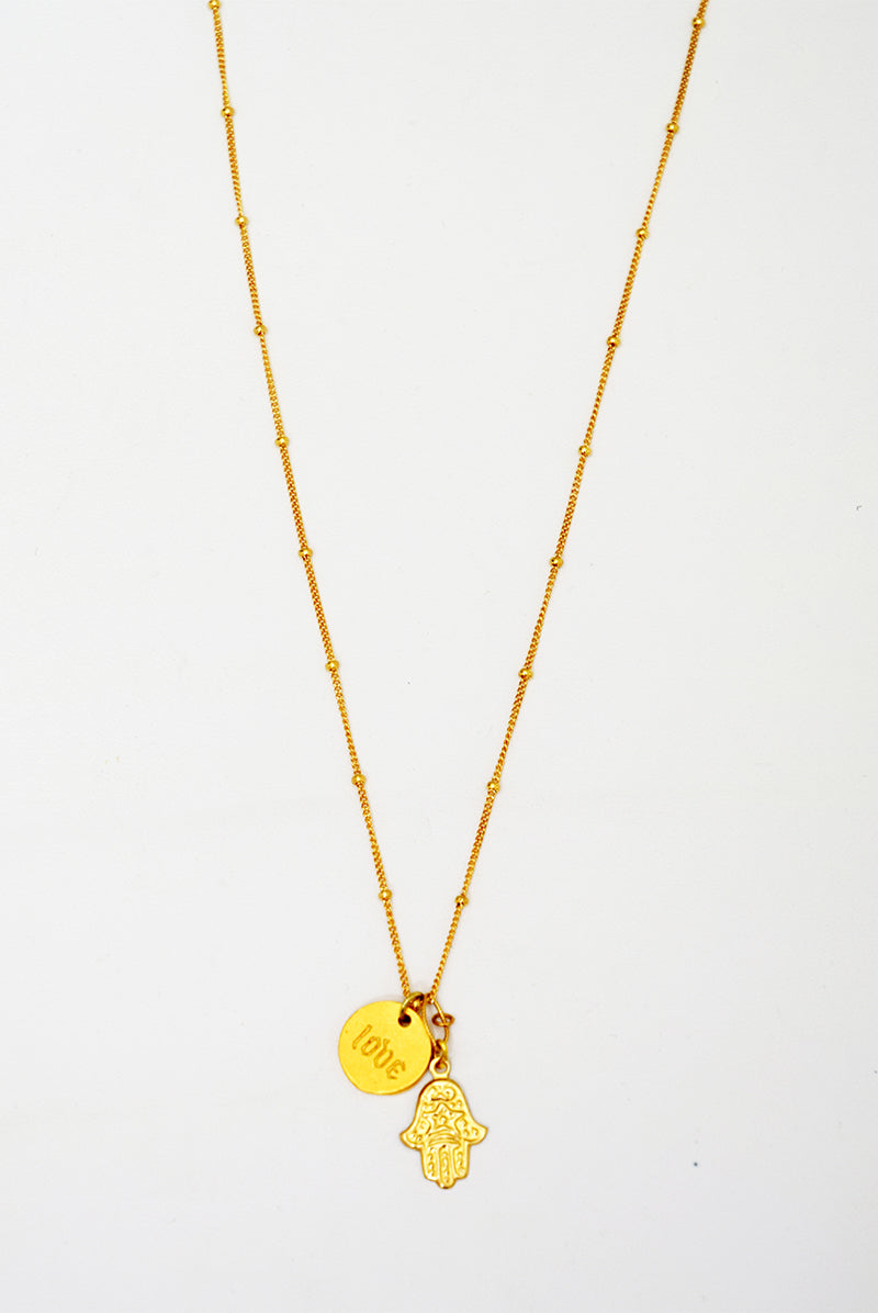 Hamsa & Love Necklace