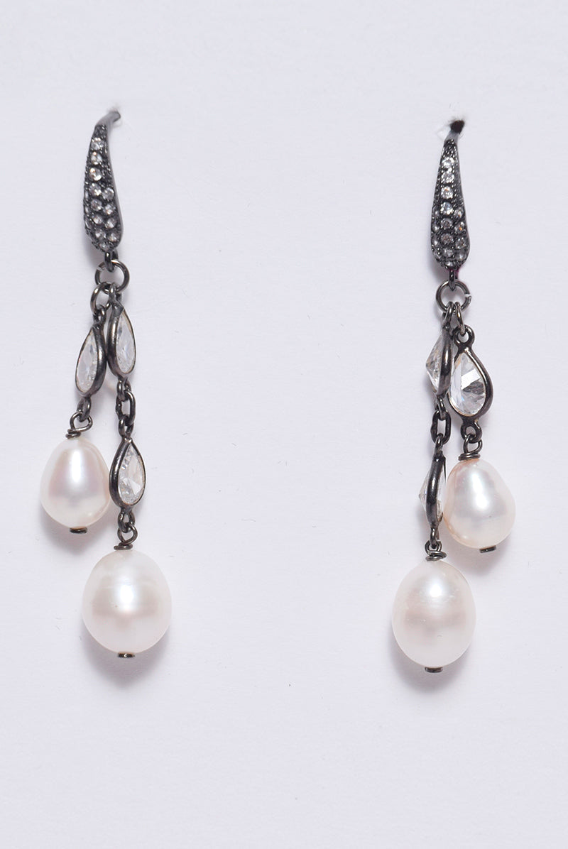 Marquis Chain Earrings with Pearls