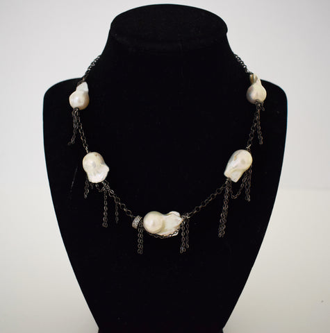 Choker with Baroque Pearls and Fringe