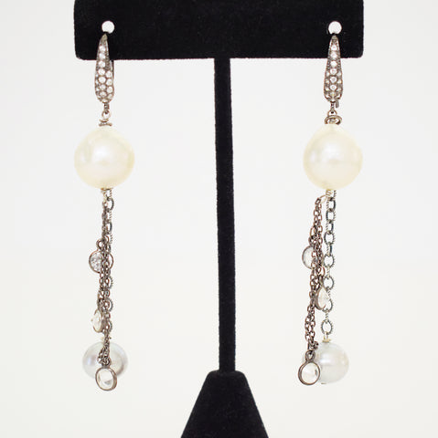 White & Blue Pearl and CZ earrings