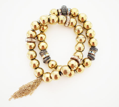 Gold Hematite Bracelet with Fringe