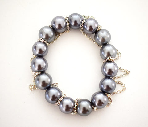 Silver Blue Glass Pearl and Fringe Bracelet