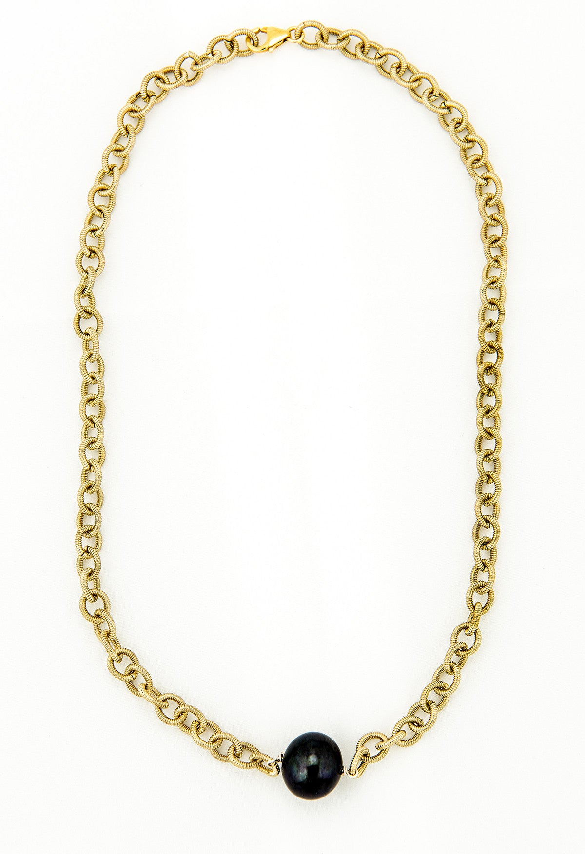 Black Fresh Water Pearl on Gold Chain