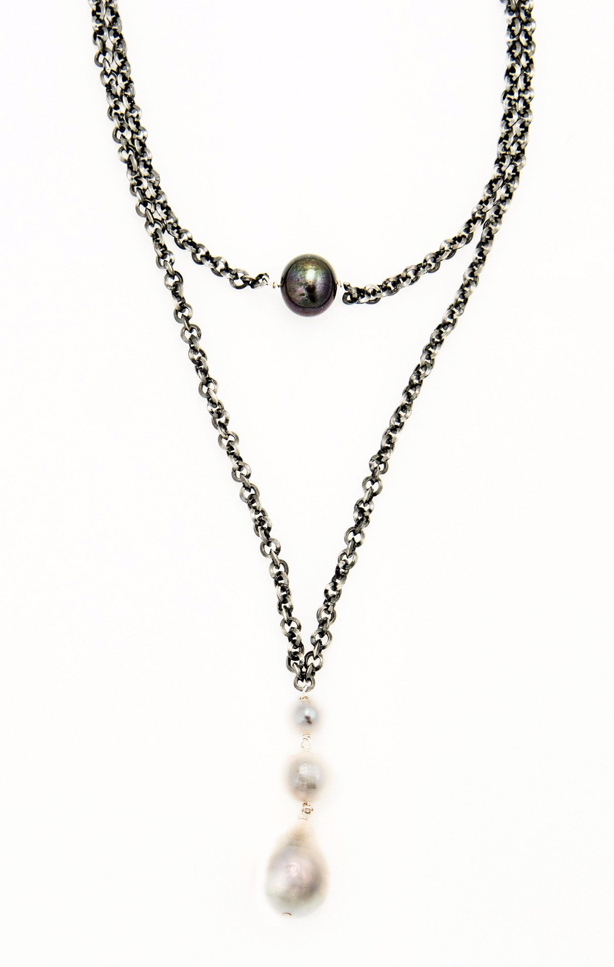 Double rhodium plated  chain with Fresh Water Pearl