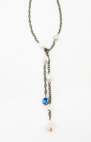 Rhodium Chain with White Baroque Pearls and Blue Agate